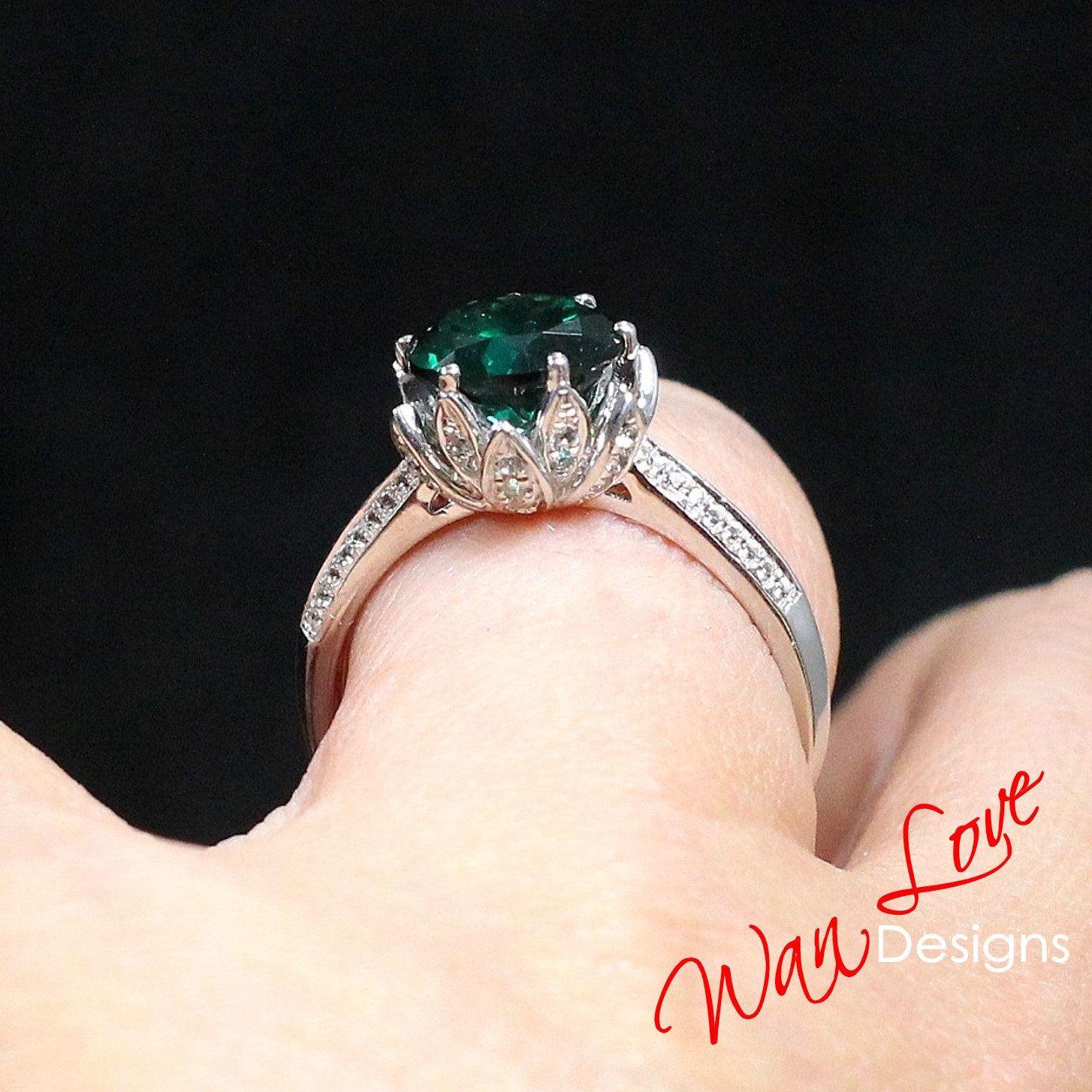 Emerald diamond lotus flower engagement ring 2ct8mm