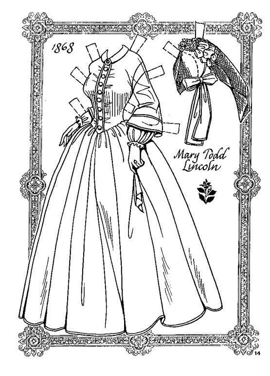 Mary Todd Lincoln Bonecos De Papel Desenhos Para Colorir
