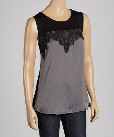 Take a look at this Silver & Black Lace Sleeveless Top by Wrapper on #zulily today!