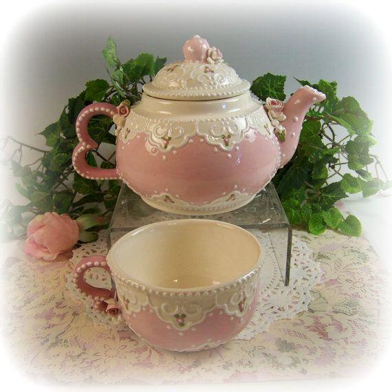 Lace Heart Tea-for-One by RomancingTheTeapot on Etsy