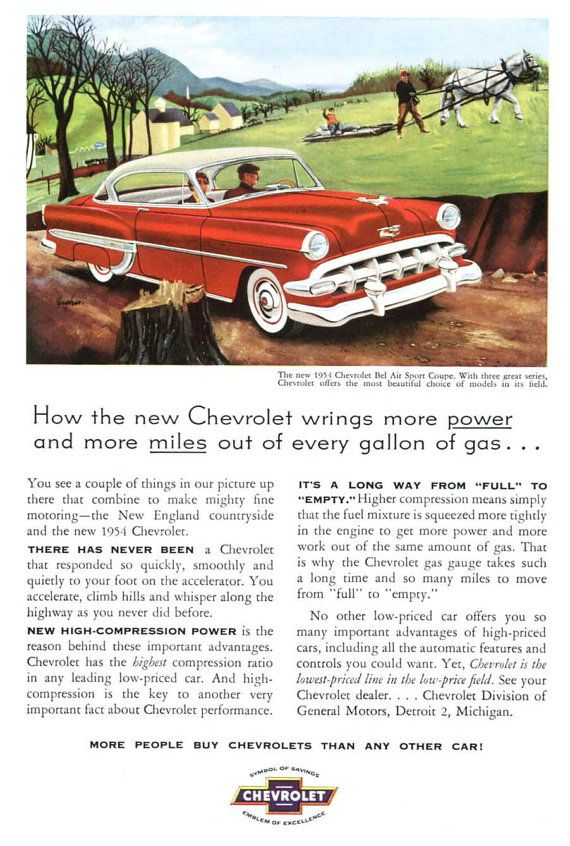 1954 Chevrolet Bel Air Sport Coupe Ad - 1950s Chevy Classic Car New ...