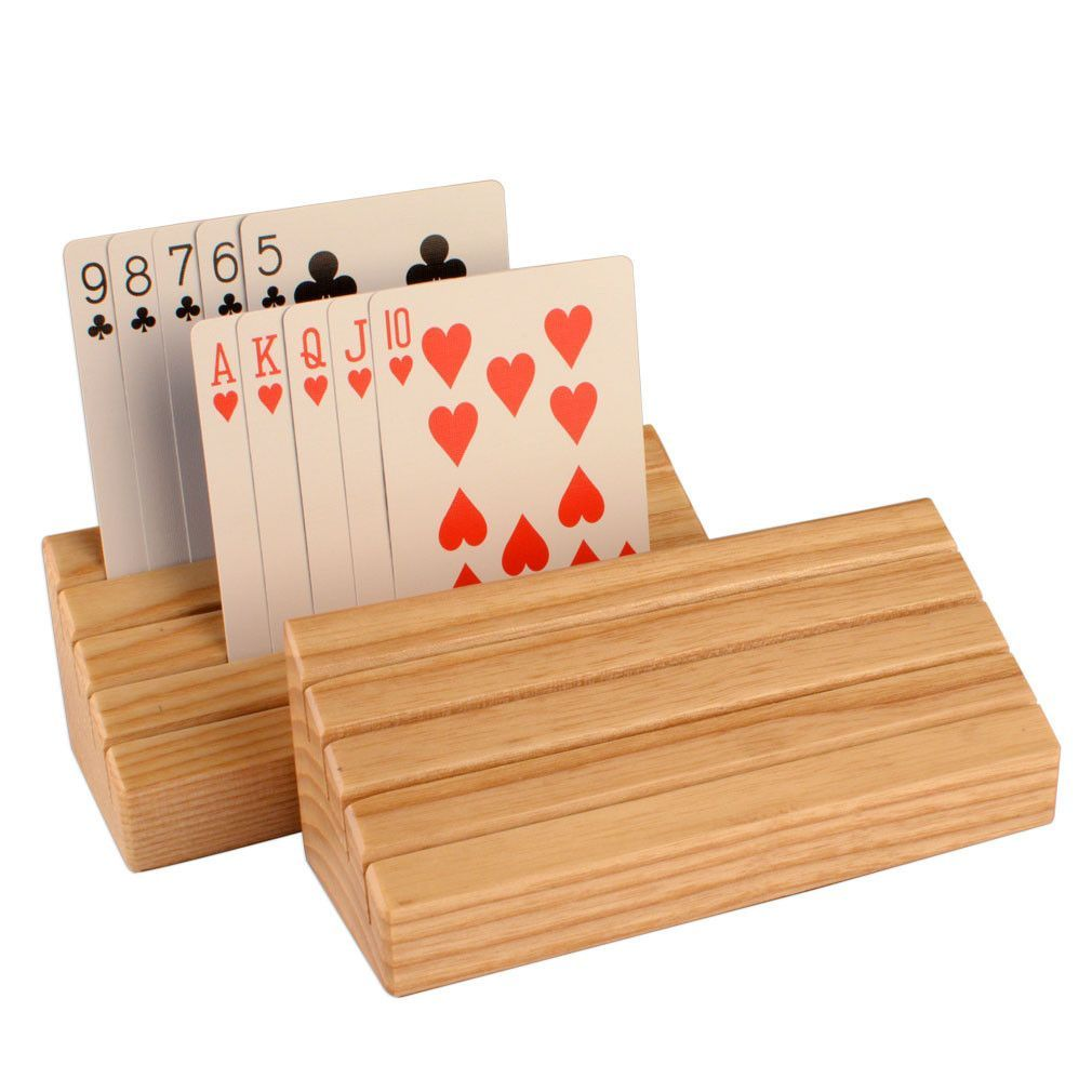 StandardSize Solid Oak Wood Playing Card Holders Set of