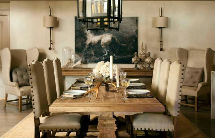 Letu0027s Not Forget How Gorgeous Dining Rustic Tables Are Next To Linen Dining  Room Chairs.
