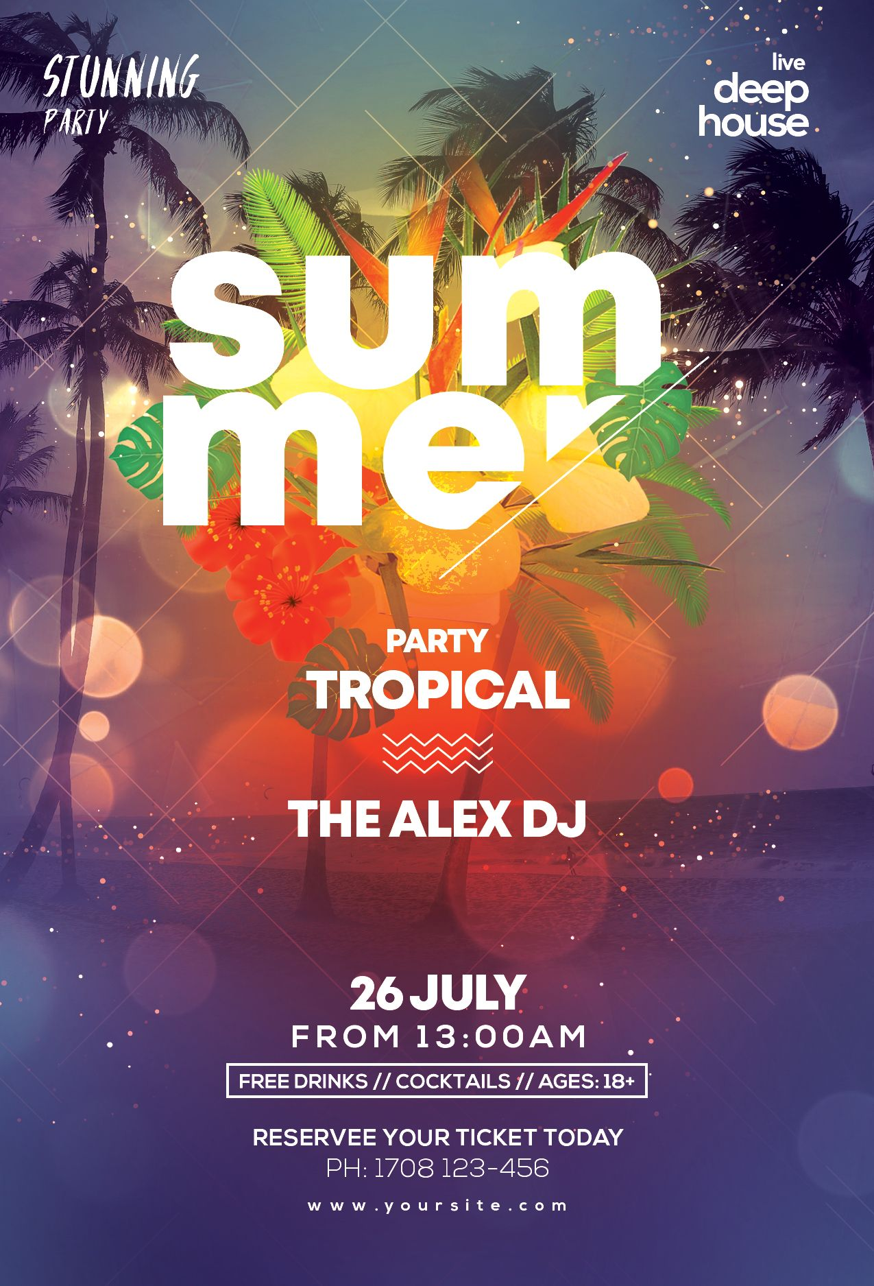 Beach Party Flyer Template Free Psd