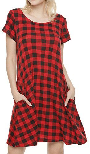 Girl2Queen Summer Womens Short Sleeve Swing Tunic Plaid T-Shirt Dresses  with Pockets