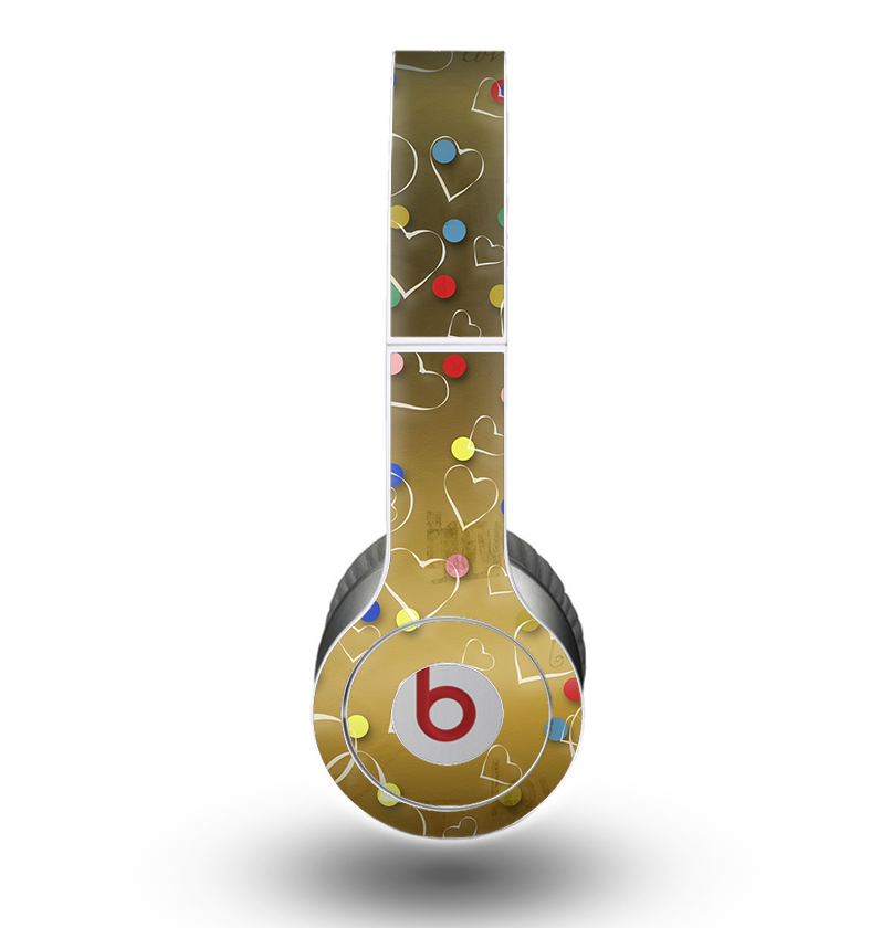 The Gold Hearts and Confetti Pattern Skin for the Beats by Dre Original Solo-Solo HD Headphones