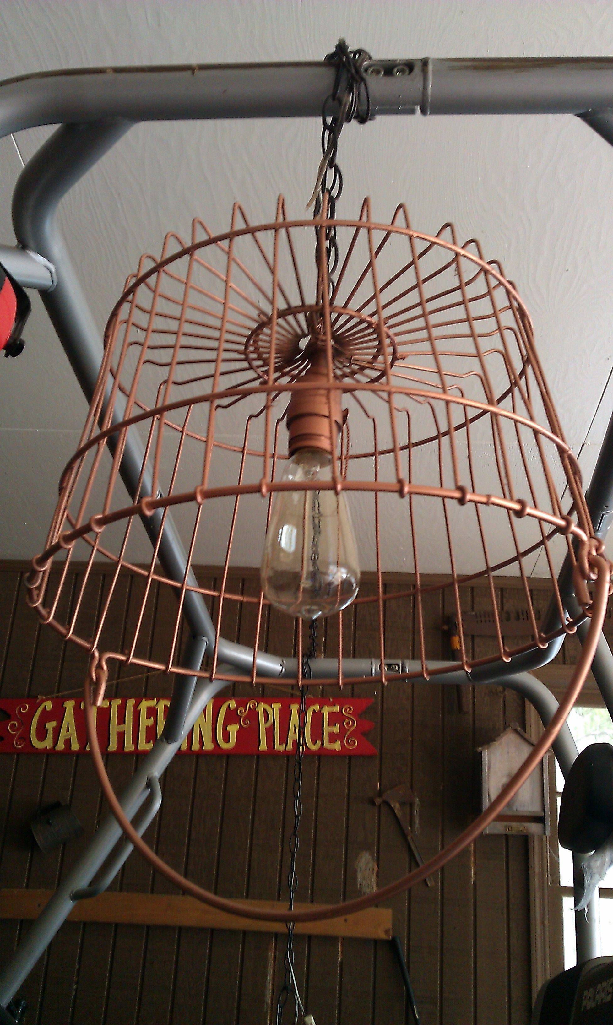 My Repurposed Old Wire Basket Into Hanging Lamp Hanging Wire