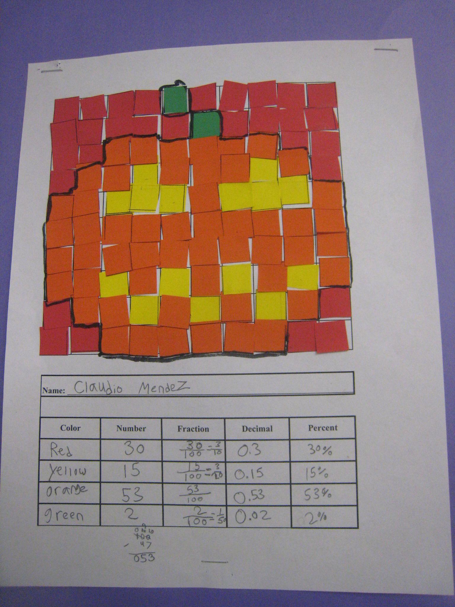 A Little Bit Of Math Fraction Decimal Percent Mosaic