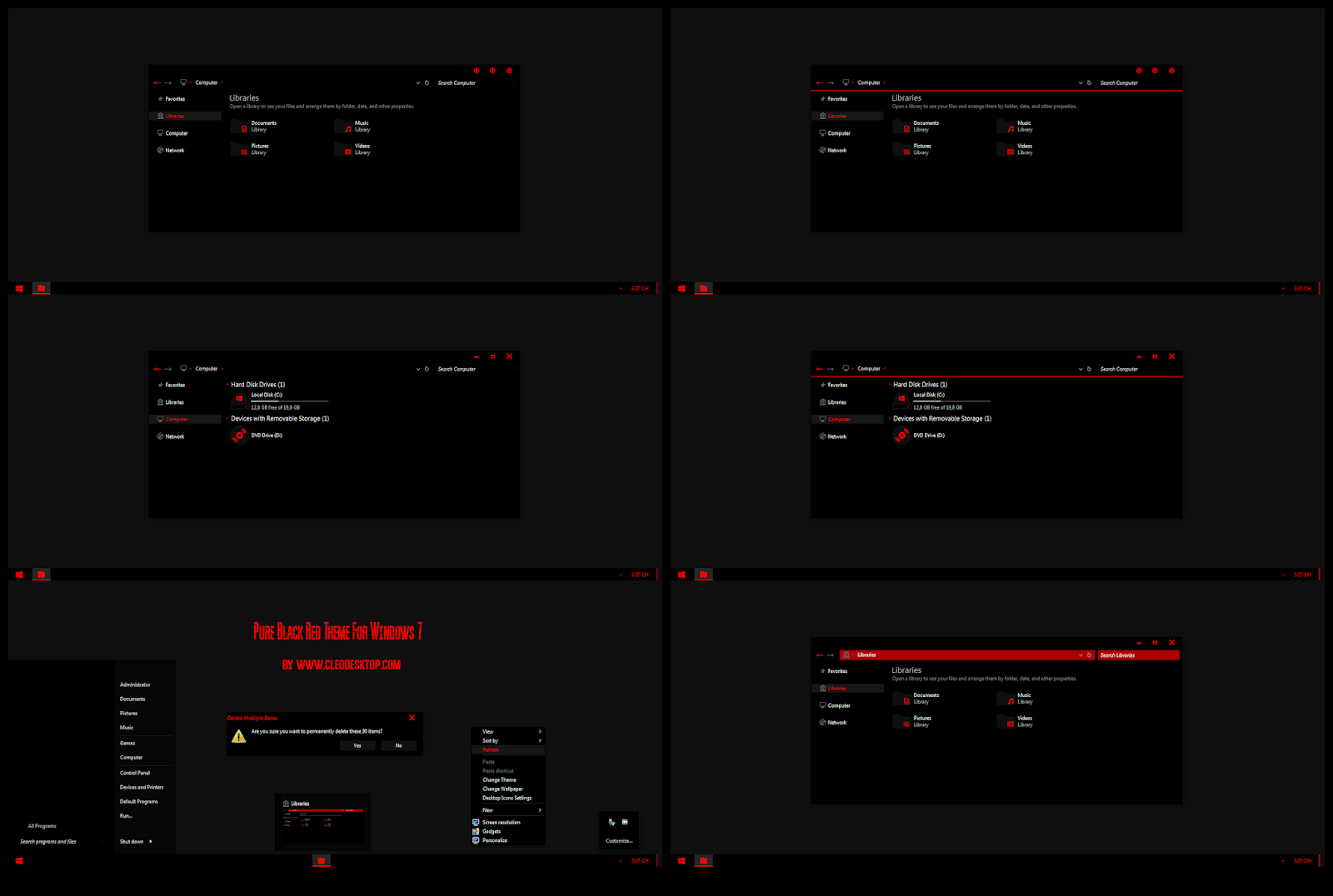 Pure Black Red Theme For Windows 7 Cleodesktop I Customized Desktop Black And Red Windows Pure Products