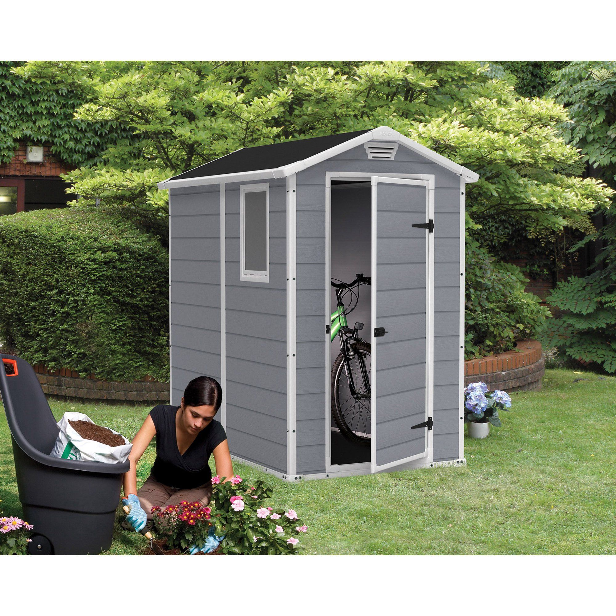 Keter Manor 4 X 6 Resin Storage Shed All Weather Plastic Outdoor Storage Gray White Walmart Com In 2021 Resin Outdoor Storage Garden Storage Shed Plastic Sheds