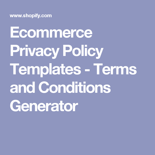 Ecommerce Privacy Policy Templates