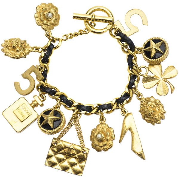 Pre-owned Chanel Vintage Gold Charm Bracelet ($1,450) ❤ liked on Polyvore featuring jewelry, bracelets, charm bracelet, gold four leaf clover charm, flower charms, yellow gold charms and gold bracelet charms
