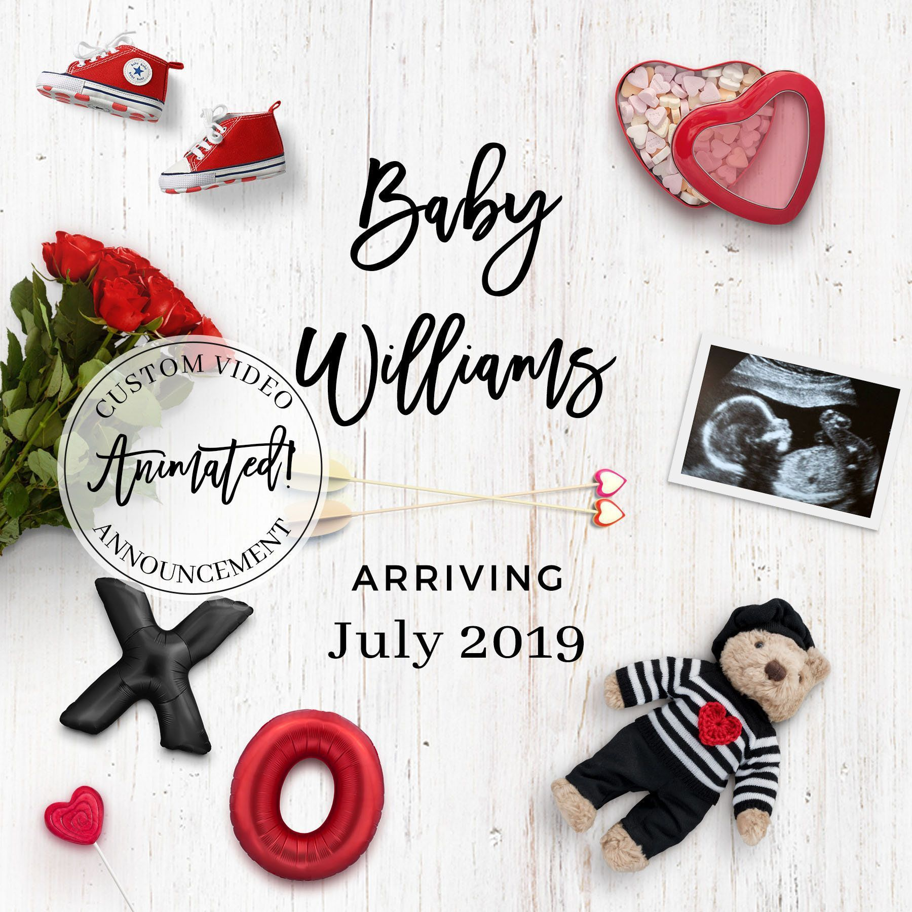 Personalized ANIMATED Valentine's Day digital pregnancy announcement …