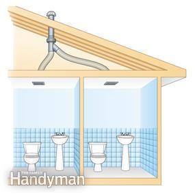 Use An In Line Fan To Vent Two Bathrooms Bathroom Ventilation Bathroom Design Layout Bathroom Vent Fan