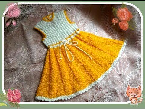 Delantal para niñas 2-3 años (los rayos). vestido que hace punto para niñas de 2-3 años - YouTube