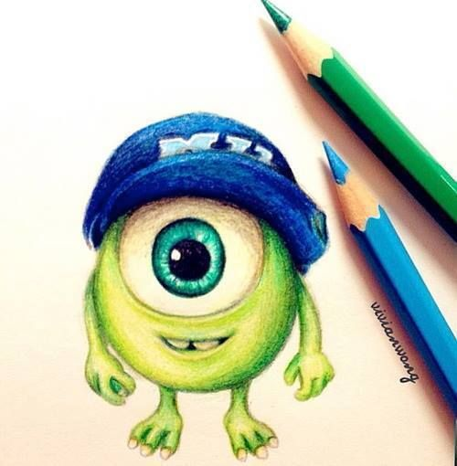 Little Mike Colored Pencil Sketch Cute Disney Drawings Disney