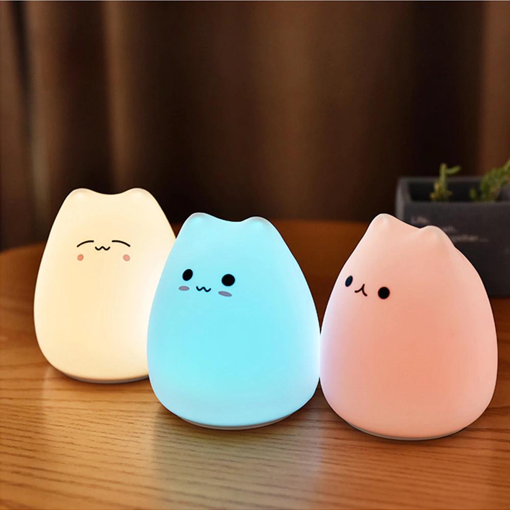 Led Night Lamp Decorate Desk Light Battery Dream Cute Cat In 2020 Led Night Lamp Cat Lamp Cute Night Lights