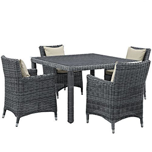 Outdoor Dnning Sets Summon 5 Piece Outdoor Patio Sunbrella Dining Set Antique Canvas Beige This Is An Am Patio Dining Set Patio Furniture Sets Patio Dining