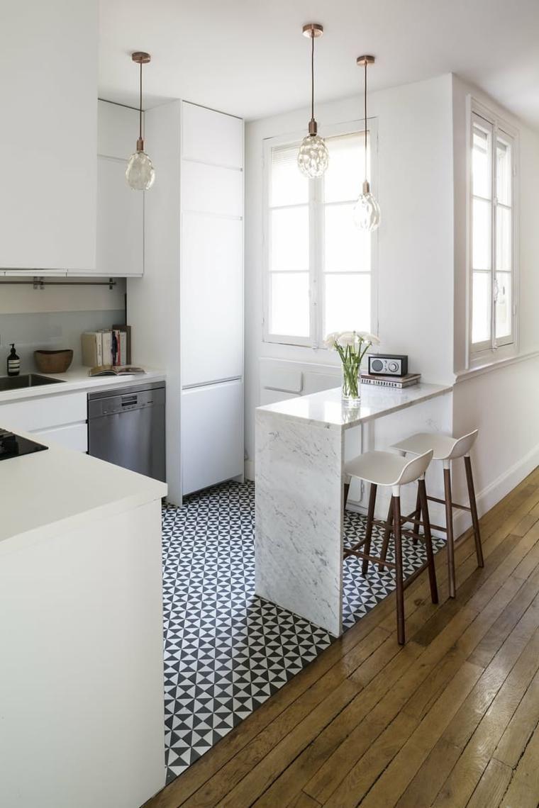 Ilot Cuisine Design Amenagement Bar Petit Espace Peninsule Marbre
