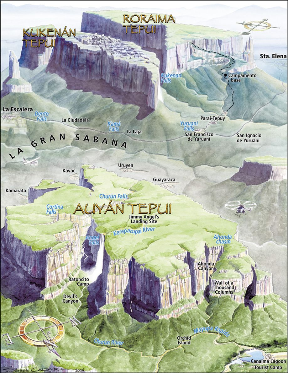 A 3D map of the tepui (or table mountains) of the Guiana ...