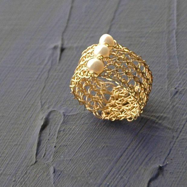 Pearl Ring design in gold , Wire Crochet pearl Jewelry | Kupferdraht ...