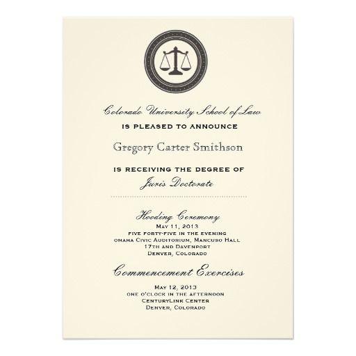 Personalized Law School Graduation Announcements Pinterest