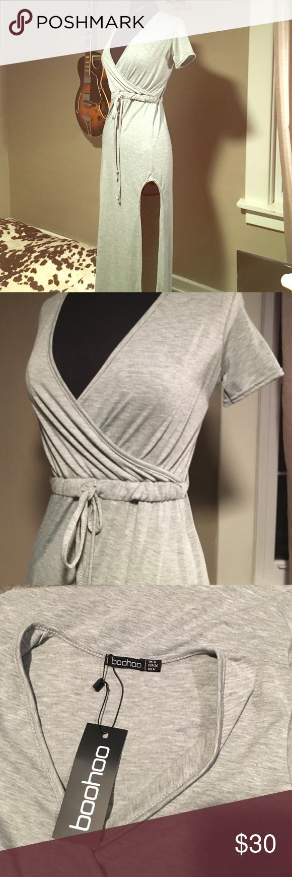 Boohoo maxi dress Grey boohoo maxi dress with high slit. New with tags. Size small Boohoo Dresses Maxi
