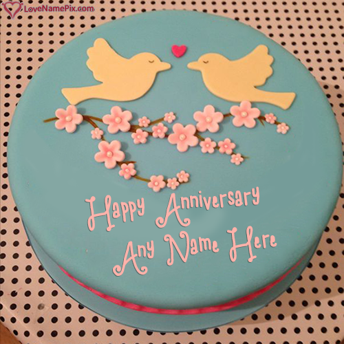 Write Name On Cute Love Birds Anniversary Cake Picture