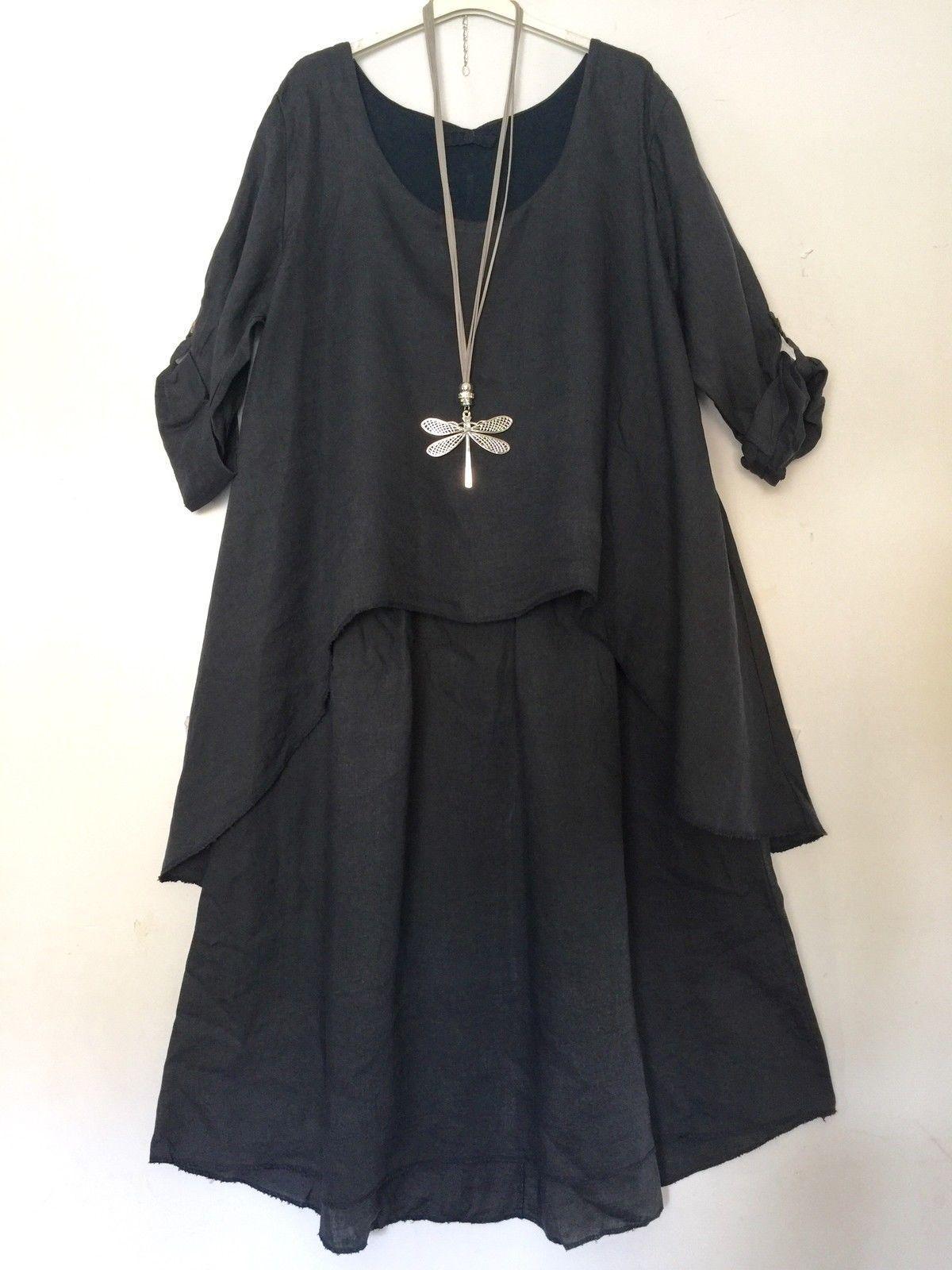 Naveed Mode Damen Tunika Shirt Top Bluse Stretch Lagenlook 38 40 42 44 46 48 50