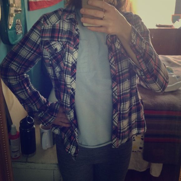 Plaid shirt, in perfect condition! Size 6-8. I think it's made of cotton. Tops Button Down Shirts