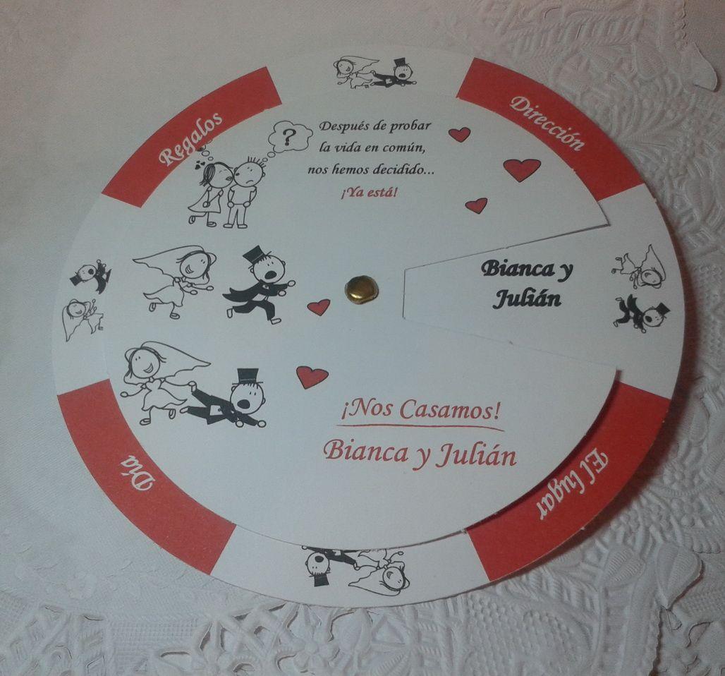 Tarjeta giratoria con historia invitaciones de - Tarjetas de invitacion de boda originales ...