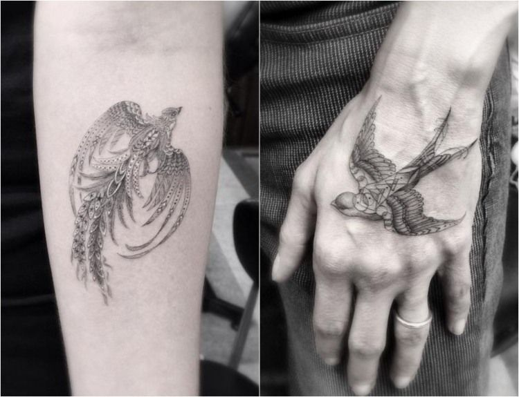 filigrane tattoo motive vogel arm hand feine. Black Bedroom Furniture Sets. Home Design Ideas