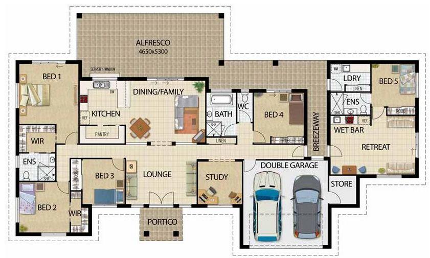 Plano De Casa Grande De 5 Dormitorios Y Garage Doble En Un