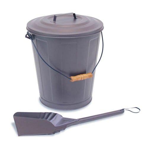 Ash Pellet Bucket With Lid Double Bottom Powder Coat Finish Includes Shovel 14 W X 16 1 2 H Thefiresideshop Com Coal Hods And Ash Buckets Bucket Wit