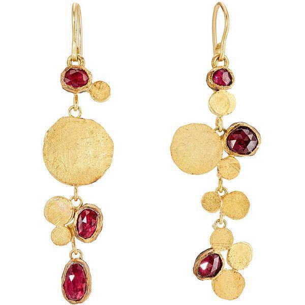 Judy Geib Women's Triple-Drop Cluster Earrings (€4.250) ❤ liked on Polyvore featuring jewelry, earrings, no color, cluster earrings, disc drop earrings, cluster drop earrings, round earrings and drop earrings