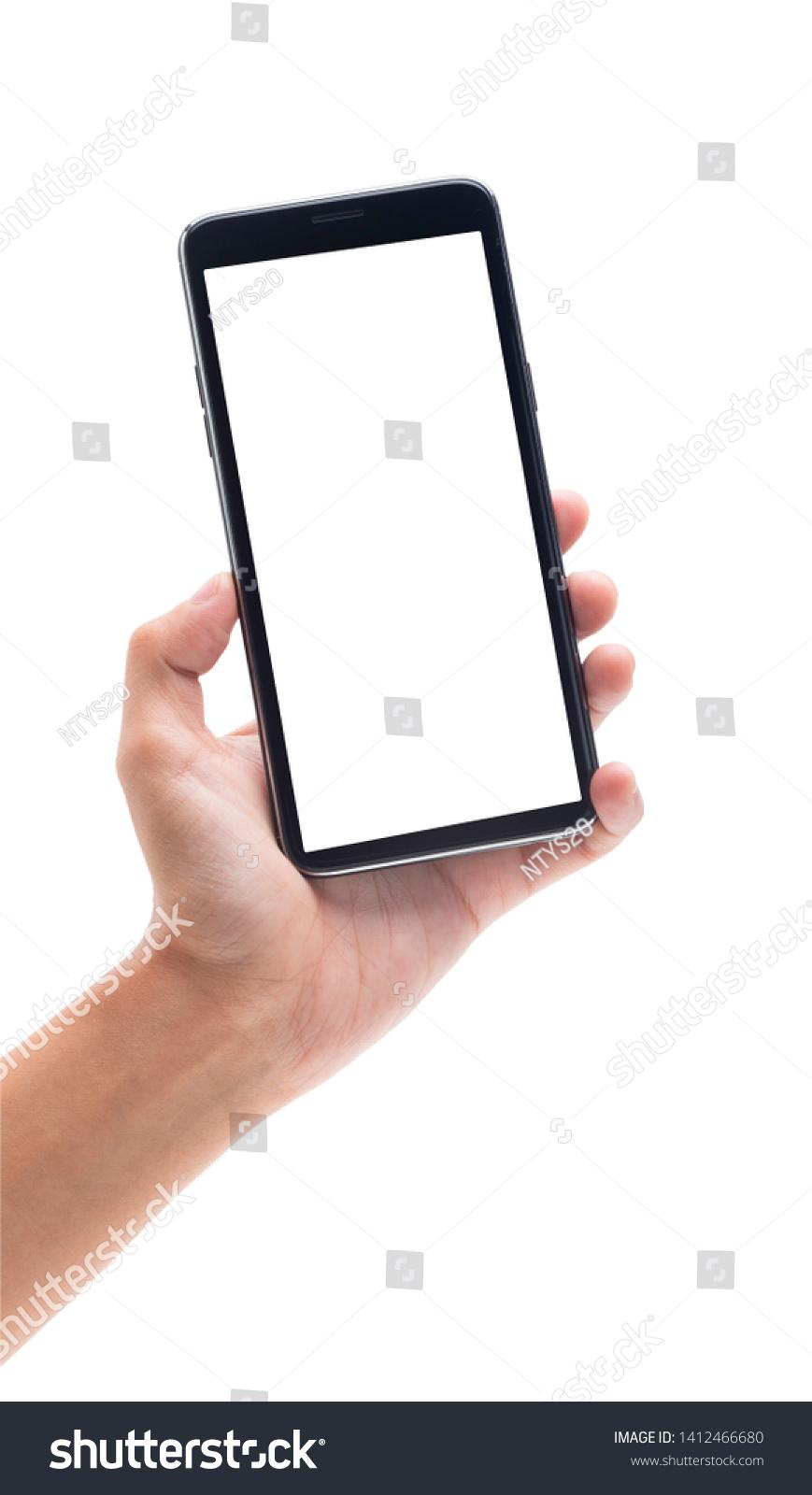 Woman Hand Holding Black Smartphone Blank Stock Photo Edit Now 1412466680 Smartphone Smartphone Technology Best Smartphone