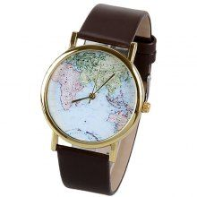 Map Pattern Quartz Watch with Analog Indicate Leather Watchband for Women