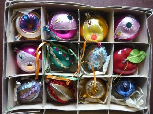 12 x vintage christmas tree ornaments baubles decorations ebay - Ebay Vintage Christmas Decorations