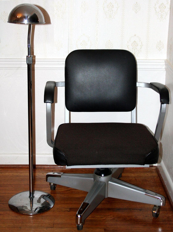 vintage industrial steel eck adams executive chair black vinyl