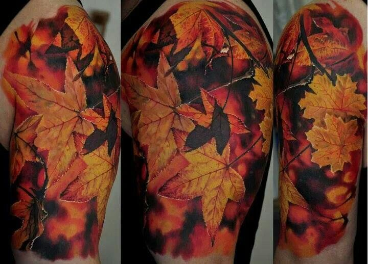 I Want Autumn Leaves In My Chest Piece Autumn Tattoo Fall Leaves Tattoo Flower Tattoos