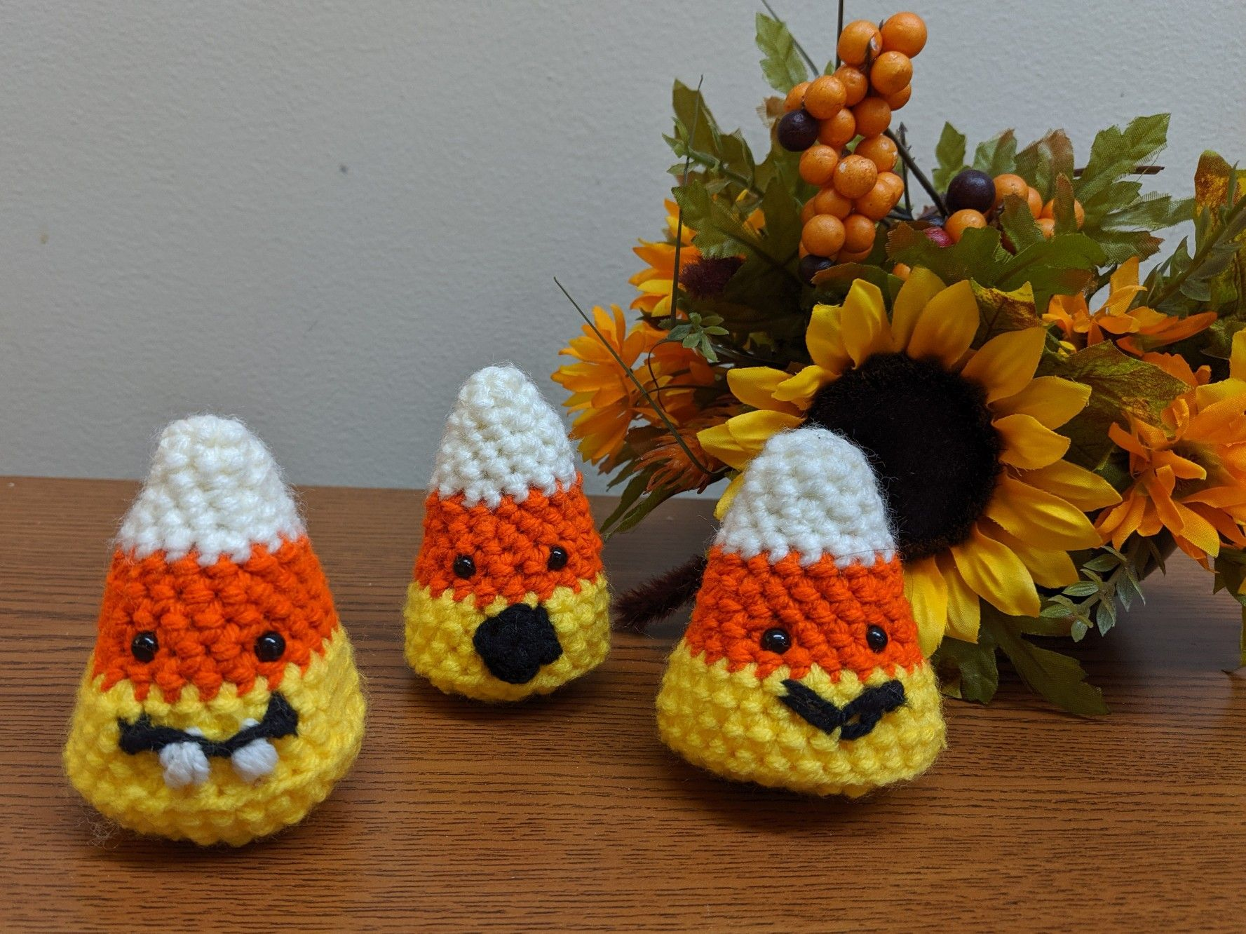 Handmade Crochet Candy Corn Decor