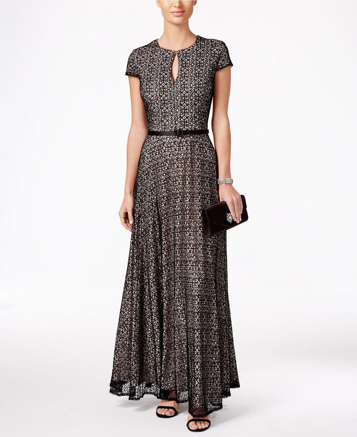 Alex Evenings Mesh Belted A Line Gown Dresses Women Macys