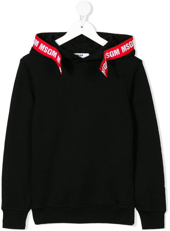 802a33d045 MSGM contrast logo tape detail hoodie | boy kids in 2019 | Msgm kids ...