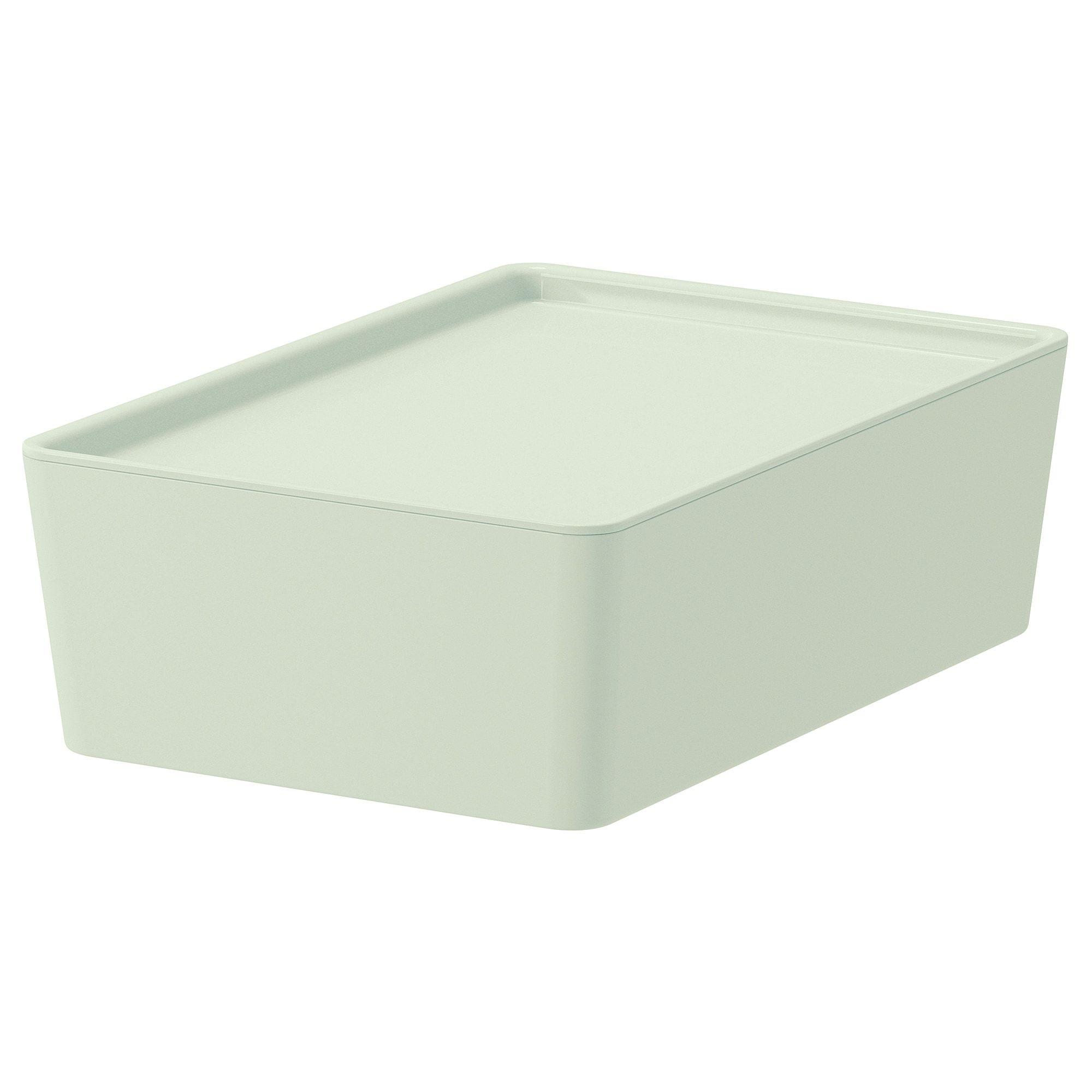 Ikea Kuggis Light Green Storage Box With Lid Storage Boxes With Lids Card Storage Storage Boxes