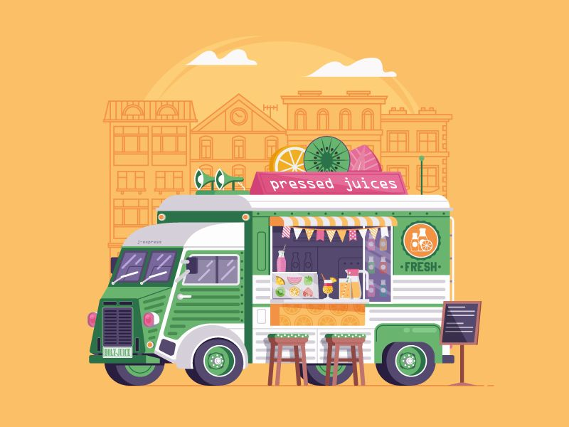 Summer Food Truck With Juices With Images Food Truck Logo