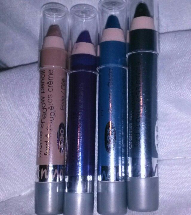 Wet N Wild Idol Eyes Creme Shadow Pencils 1.99 in the colors ( left to right) Pixie 130 , Techno 133 , Electric 131 , & Graphite 135
