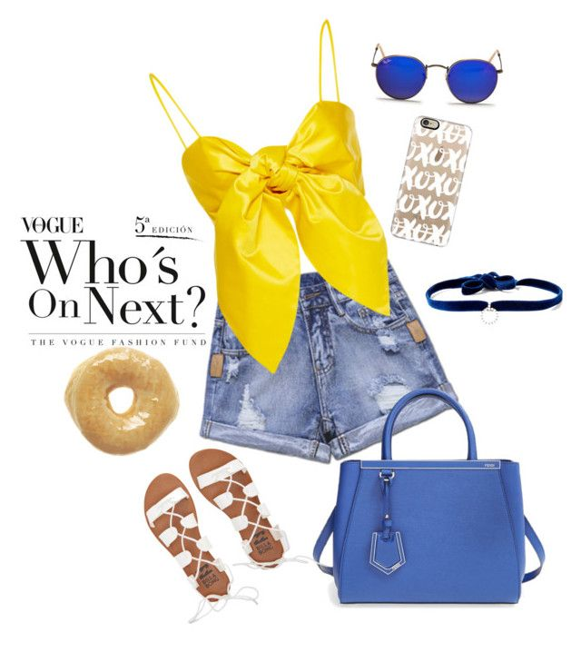 """""""💛💙"""" by ltolvino ❤ liked on Polyvore featuring Casetify, Fendi, Ray-Ban, DANNIJO and Billabong"""