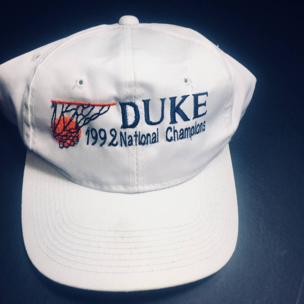 c45134d9 The Game Vintage White Duke Blue Devils 1992 Mens NCAA Basketball Champions Snapback  Hat Size one size - Hats for Sale - Grailed
