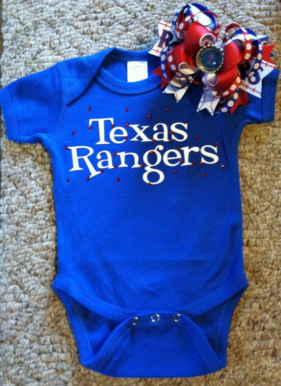 best loved 0eb84 27c59 Custom Texas Rangers Onesie with Matching bow by ...