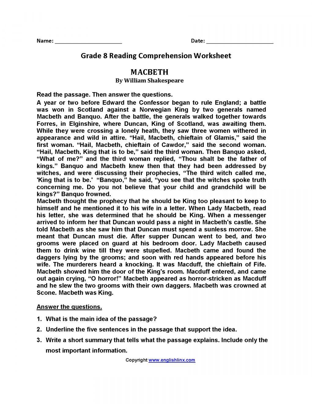 7 Reading Comprehension Grade 8 Worksheet Reading Chartsheet Net In 2020 Reading Comprehension Worksheets Reading Comprehension 8th Grade Reading